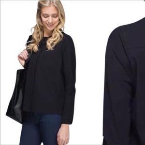 Lululemon black solo blouse button down shirt 10